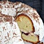Vanilla Bundt Cake with Cherry Cheesecake Center