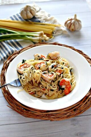 Pasta and Garlic Shrimp