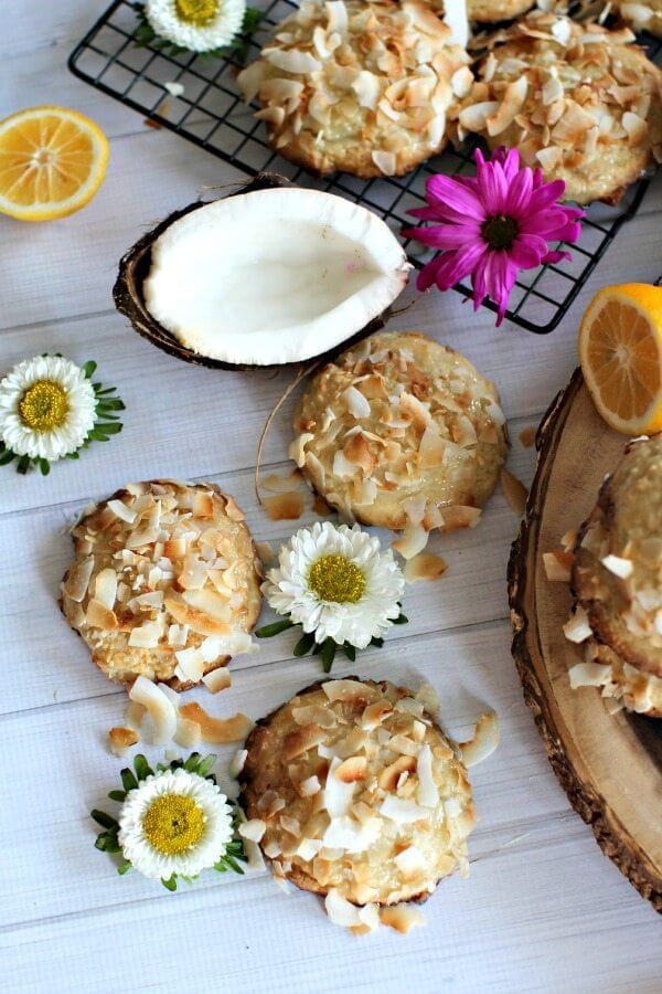 Meyer Lemon Cheesecake Coconut Cookies