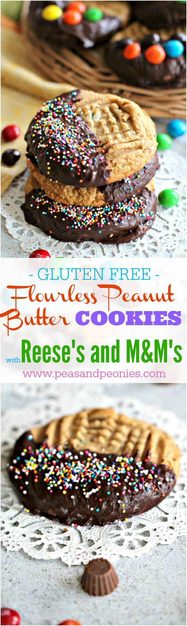 Flourless peanut butter cookies are soft, dense, thick, loaded with Reese's cups, peanut M&M's and covered in chocolate!
