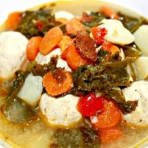 chicken meatballs bacon and kale soup