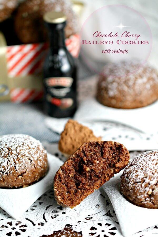 Chocolate Cherry Baileys Cookies with Walnuts