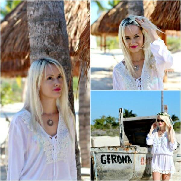 white beach cover up dress