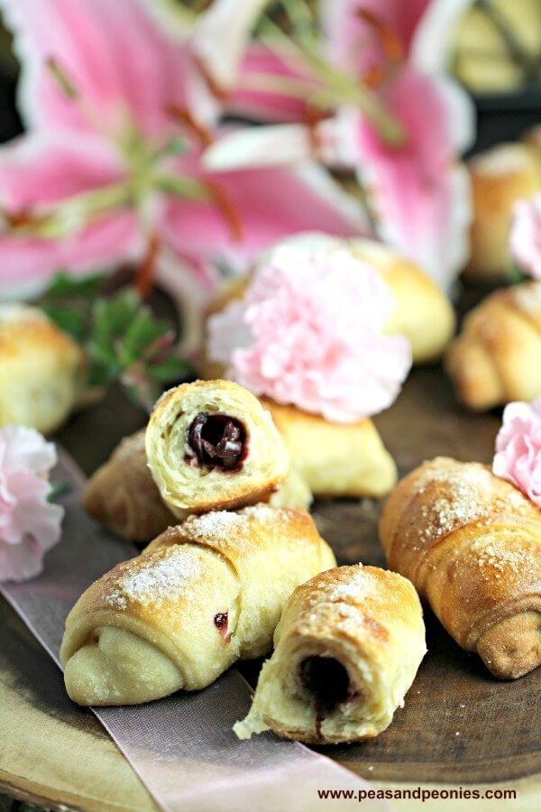 Homemade Sweet Crescent Rolls with Cherries