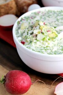 Russian cold summer soup okroshka