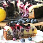 FRENCH CUSTARD CAKE WITH BLUEBERRIES AND A BISCOFF CRUST