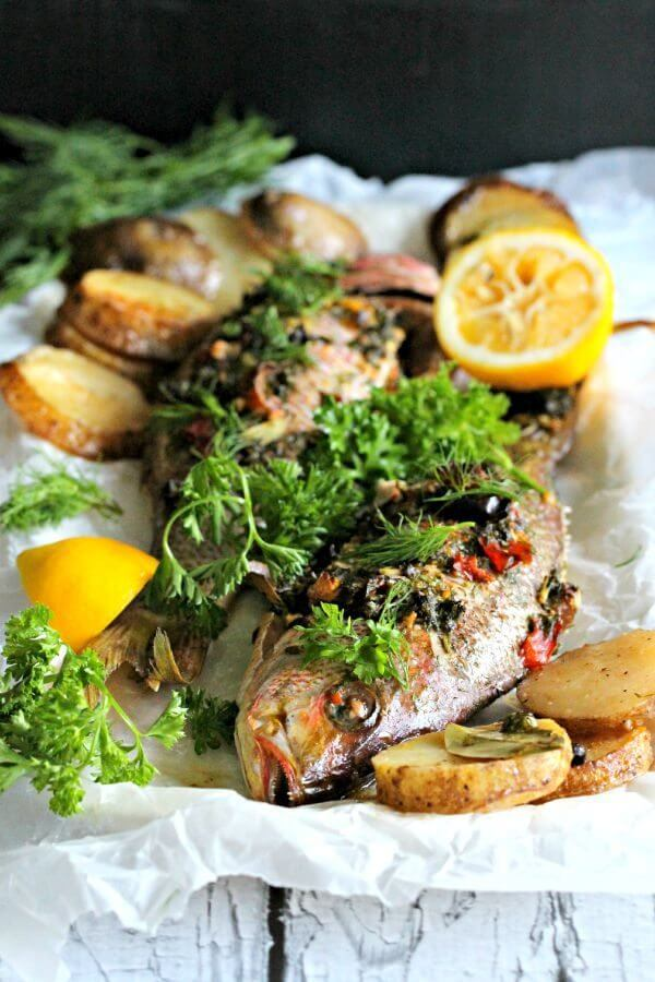 Whole Roasted Red Snapper with Potatoes