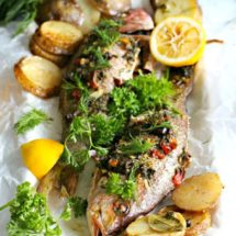 Whole Roasted Red Snapper with Potatoes One pan
