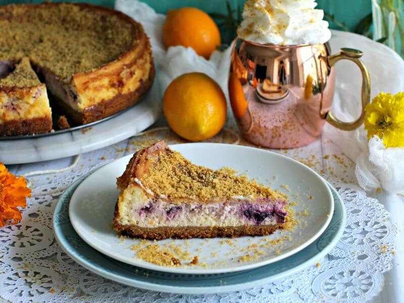 Meyer Lemon Blueberry Cheesecake