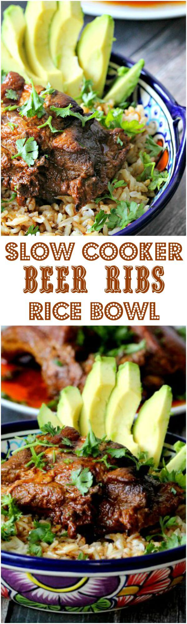 Slow Cooker Beer Ribs Rice Bowl
