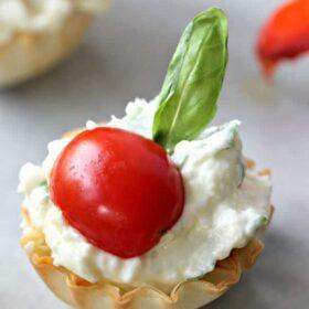 Basil Whipped Feta Mini Phyllo Dough Shells