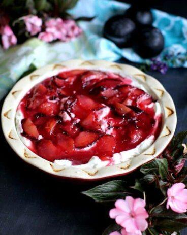 Flourless White Chocolate Plum Pie