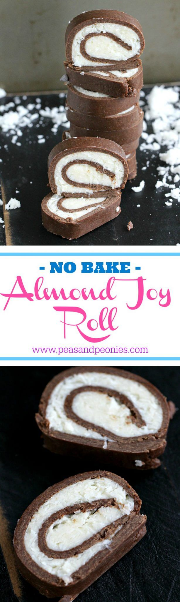 This easy and fun no bake almond joy roll is dense, chocolaty and has a creamy, sweet and smooth coconut filling. A perfect kitchen project for kids and adults.