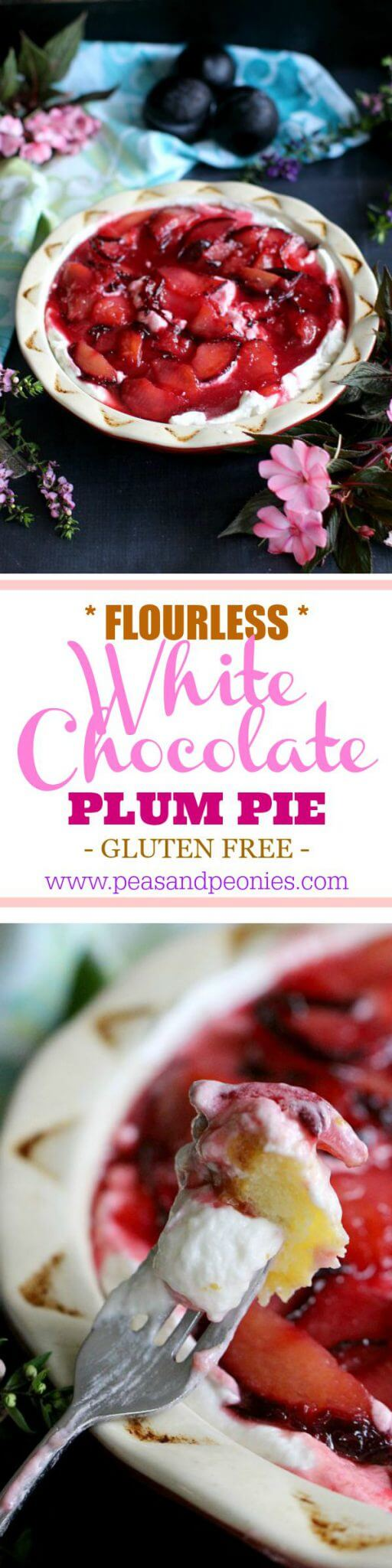 Flourless White Chocolate Plum Pie
