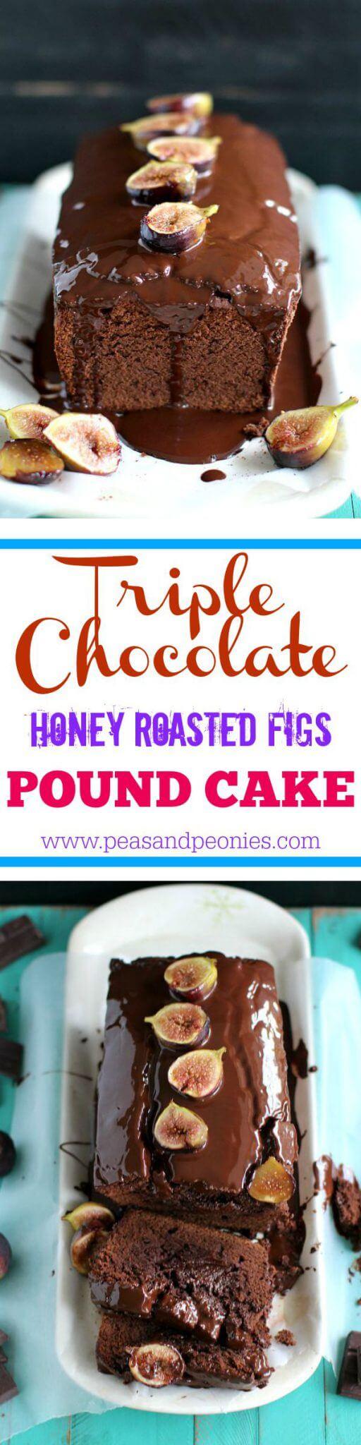 triple chocolate fig pound cake