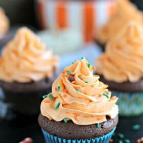 Pumpkin Brownie Cupcake