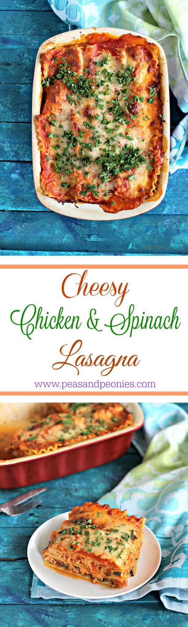 My best chicken spinach lasagna is easy to make, loaded with lean chicken and spinach for a nutritional boost. Delicious, and stores well.