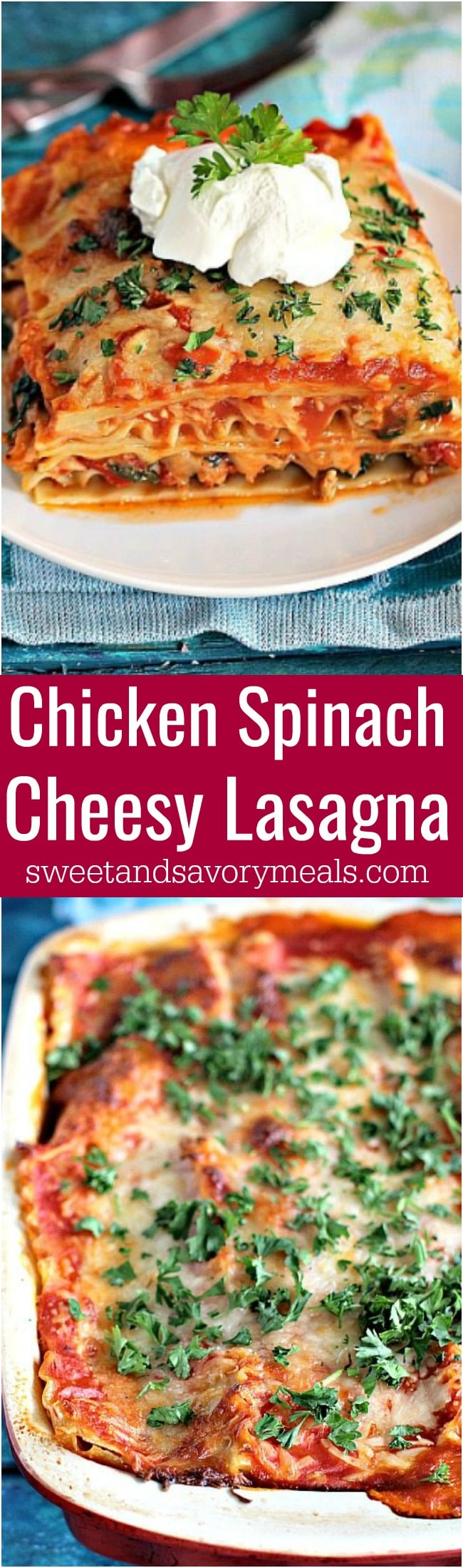 Chicken Spinach Lasagna is easy to make, loaded with lean chicken and spinach for a nutritional boost. Delicious, and leftovers taste amazing!