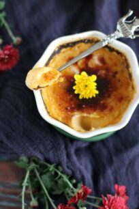 Pumpkin pie creme brulee is a French classic dessert transformed to sweeten your Thanksgiving table with its pumpkin flavor and crunchy top.