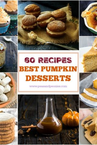 A fabulous Round Up of 60 Best Pumpkin Desserts to please everyone: from pies, to no bake cheesecakes, to muffins and paleo desserts, you have it all here!