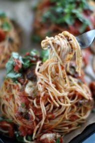 Chicken Mushrooms Spaghetti Nests