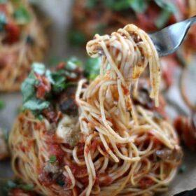 Chicken Mushrooms Spaghetti Nests