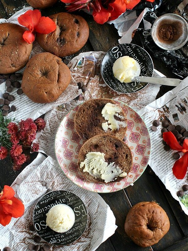 Chocolate Chocolate Chip Bagels