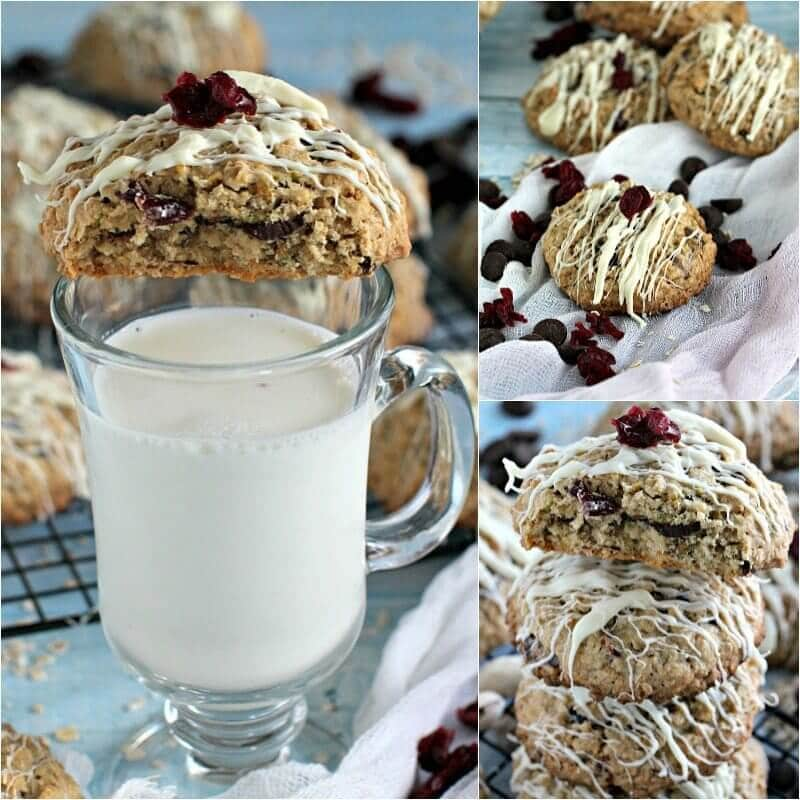 cranberry pistachio chocolate chip oatmeal cookies