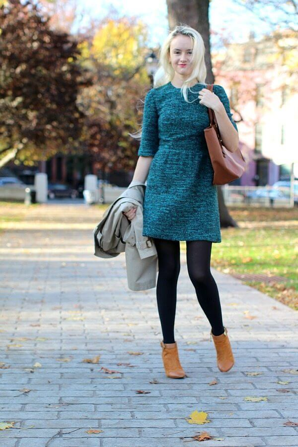 Fall Tweed Dress and Mustard Boots