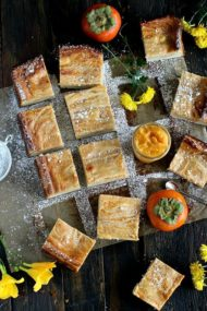 Persimmon Cheesecake Pound Cake Bars
