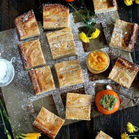 Persimmon Cheesecake Pound Cake Bars