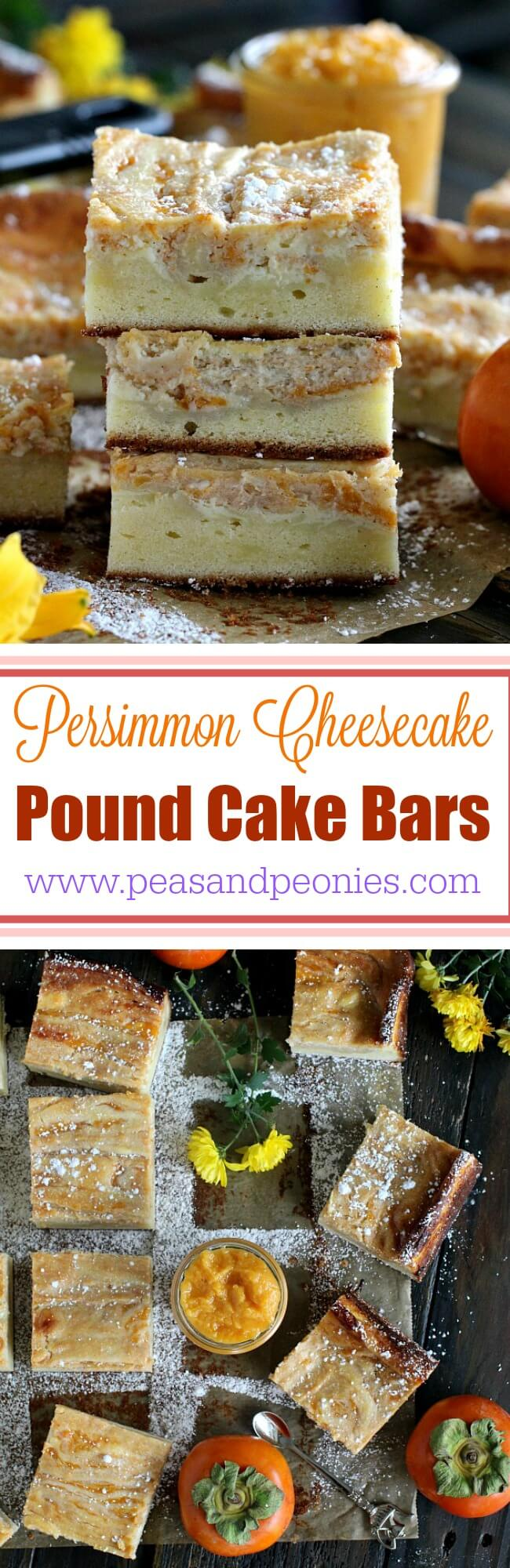 Two classic desserts are combined into these creamy and flavorful Persimmon Cheesecake Pound Cake Bars that make one decadent and irresistible dessert. A layer of pound cake, topped with  Cheesecake and persimmon jam swirls.