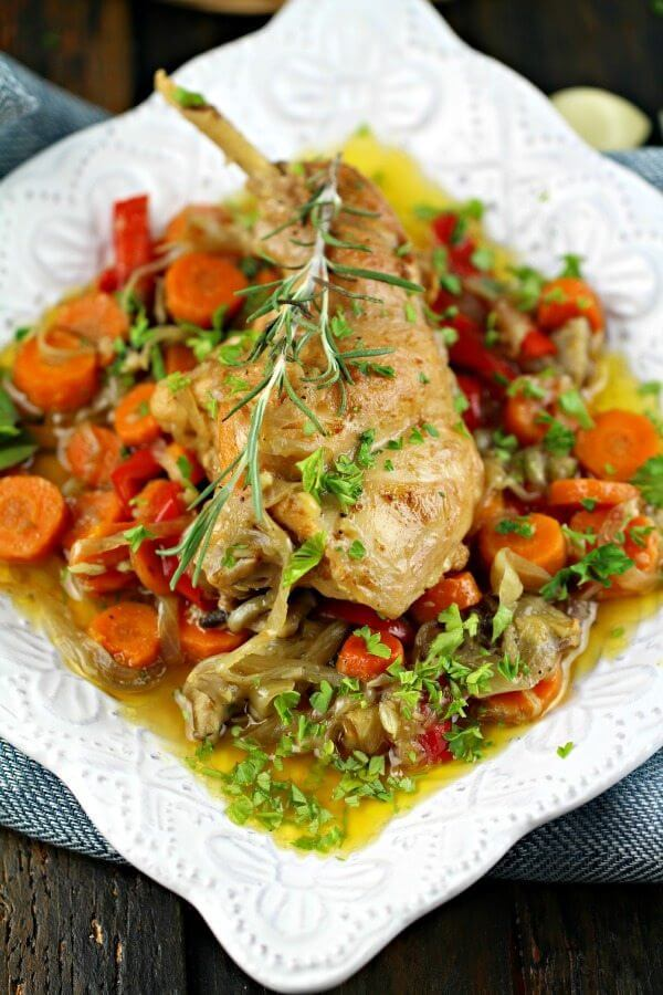 rabbit and vegetable bake