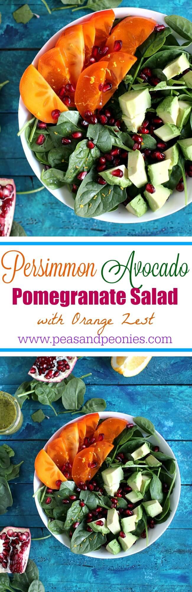 Persimmon Avocado Pomegranate Salad