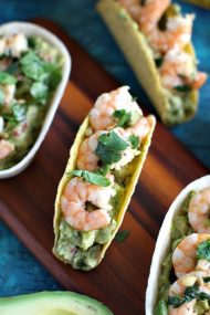 Guacamole Taco Boats with Shrimp