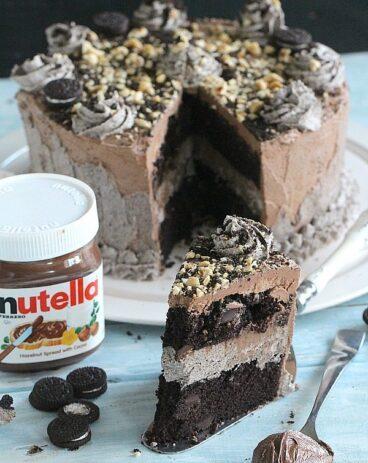 Oreo Nutella Cake - Egg Less Chocolate Cake