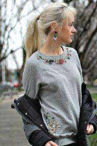 Embellished Sweatshirt & Moncler Boots
