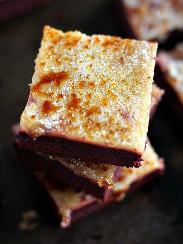 Red Velvet Creme Brûlée Brownies are the perfect combo of rich, decadent chocolate, creamy vanilla and caramelized, crunchy sugar.