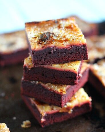 Red Velvet Creme Brulee Brownies