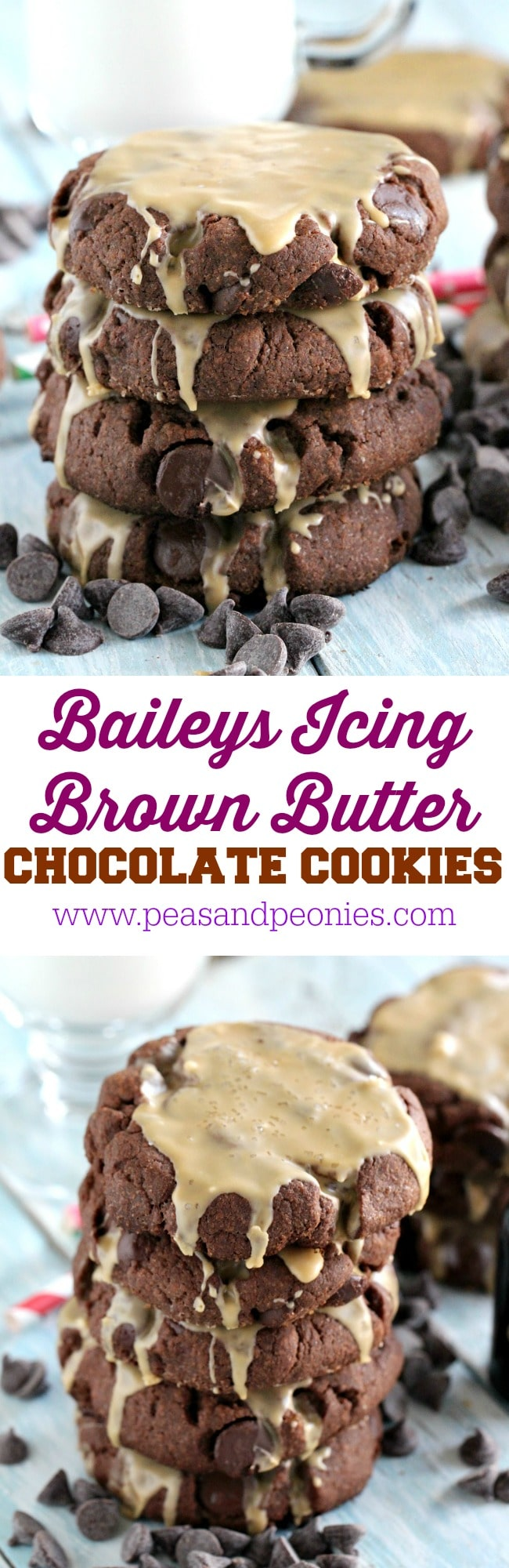 Chocolate Brown Butter Cookies have a caramel undertone, are stuffed with chocolate chips and topped with a Chocolate Cherry Baileys Icing and sea salt.