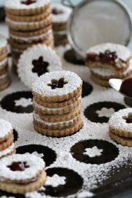 Walnut Raspberry Linzer Cookies