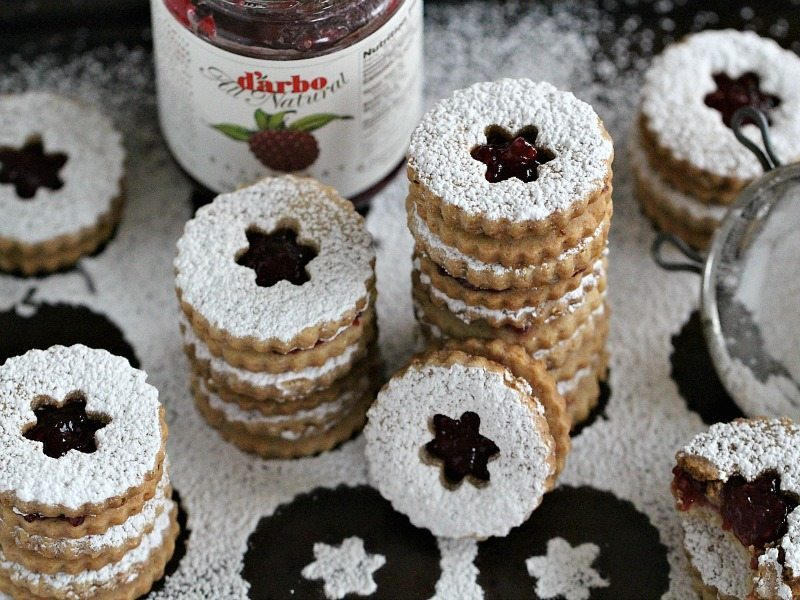Eggless Walnut Raspberry Linzer Cookies - Sweet and Savory ...