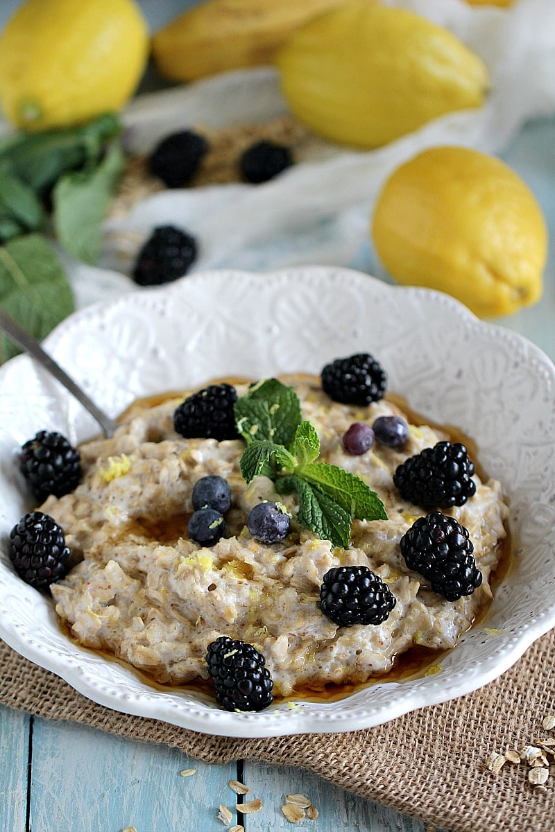 lemon blackberry cheesecake oatmeal PIN
