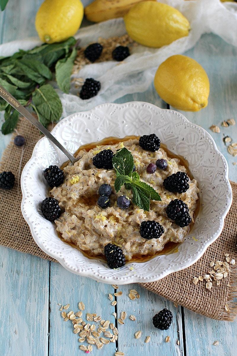 lemon blackberry cheesecake oatmeal PIN