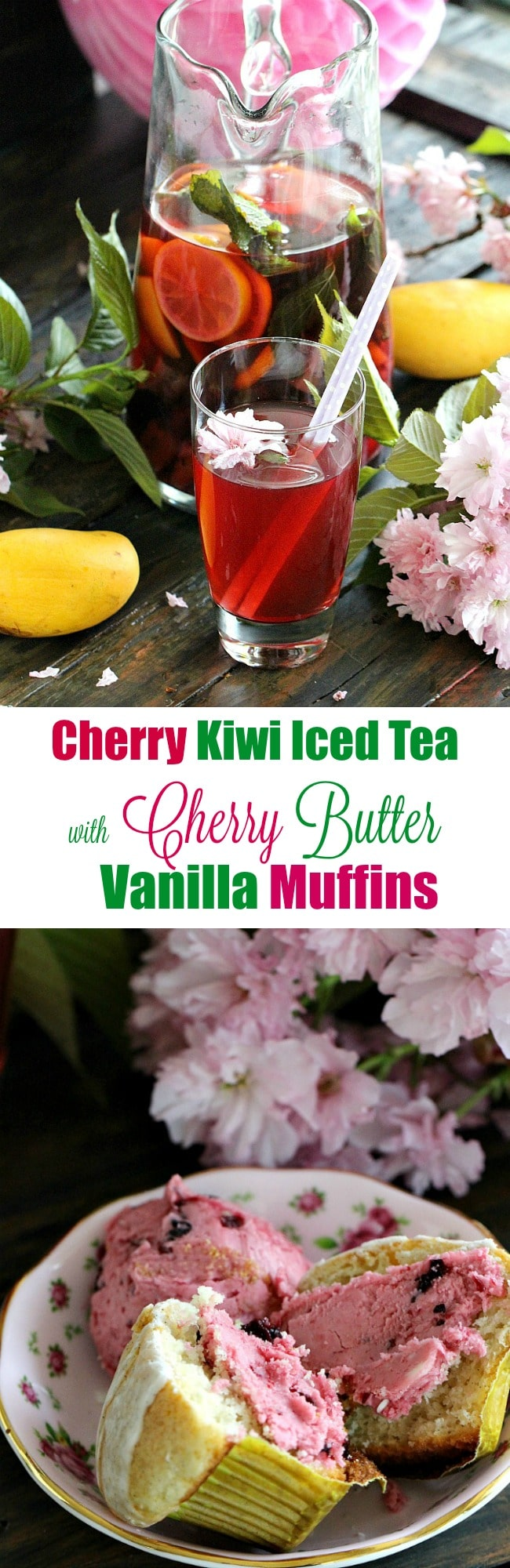 Cherry Kiwi Iced Tea sweetened with homemade Cherry Syrup is loaded with fresh kiwi, mangos, cherries and lots of fresh mint.
