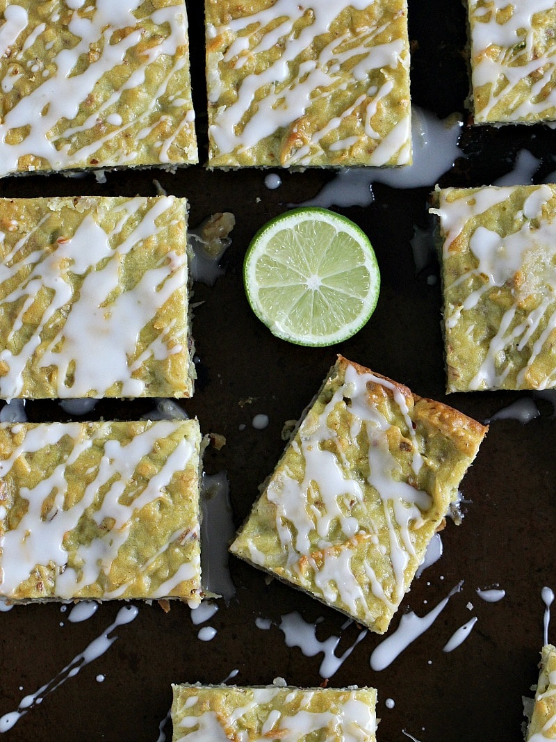 Coconut Avocado Lime Bars are sweet, chewy, dense and refreshing. Loaded with citrusy lime zest, coconut flakes, avocado and walnuts.