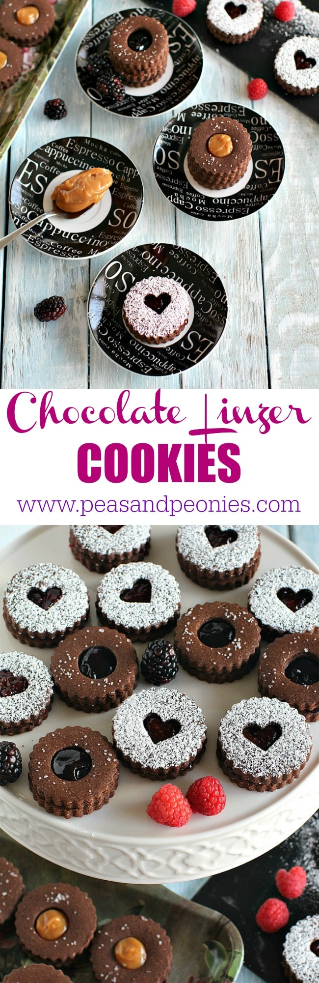 Chocolate Linzer Cookies topped with sea salt and filled with Dulce de Leche, sweet blackberry jam and flavorful raspberry jam.