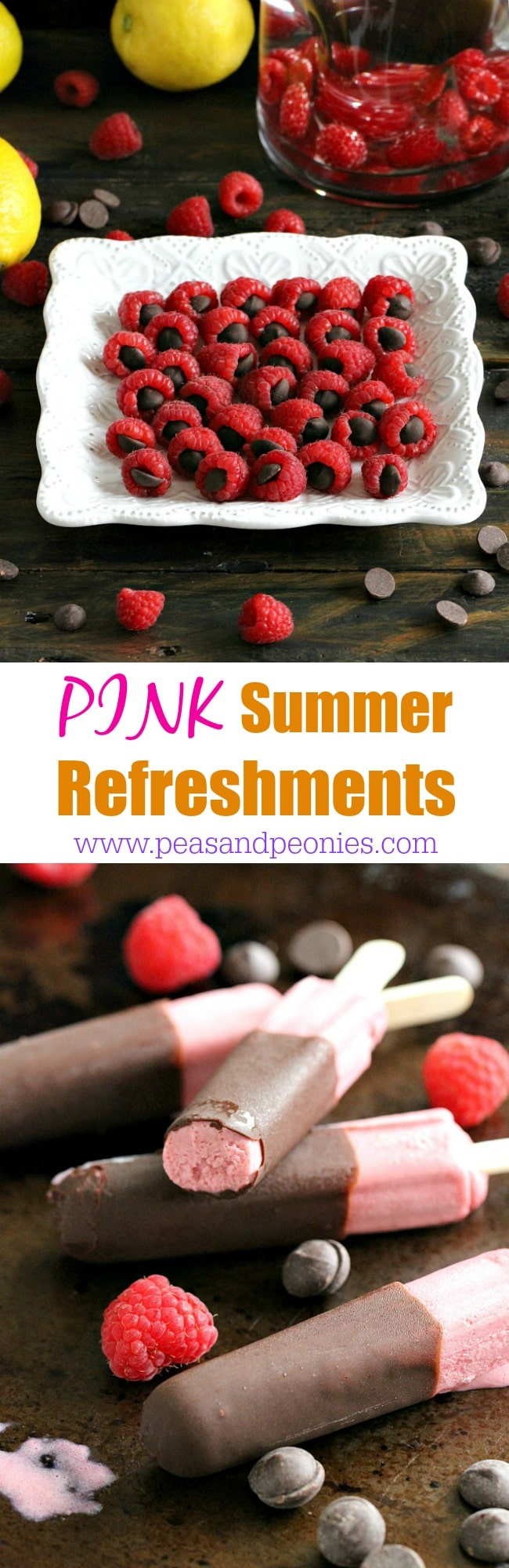 Pink summer refreshments are the perfect snacks these summer. Raspberry chocolate ice cream bars, chocolate stuffed raspberries and raspberry water.