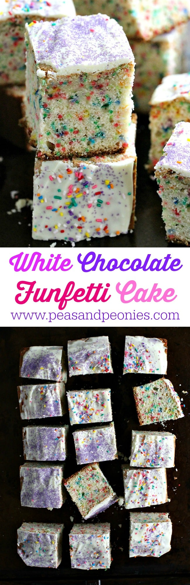 Funfetti Cake is very easy to make with just a few ingredients, loaded with sprinkles and topped with melted white chocolate, this cake is a fun dessert.