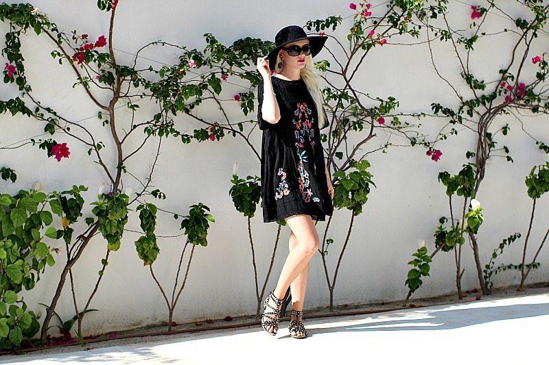 black embroidered dress 8001